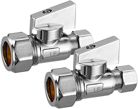 Pack of 10 5//8 OD Compression x 3//8 OD EFIELD Straight Stop Valve 1//2 Nominal 1//4-Turn Lead Free-10 Pieces