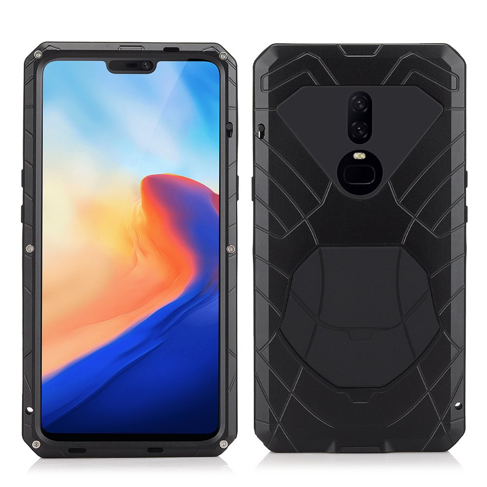 new styles c2d66 d6f5d One Plus 6 case, Armor Hybrid Aluminum Alloy Metal Cover Gorilla Glass Soft  Rubber Waterproof Shockproof 360 Protective Military Bumper Outdoor One ...