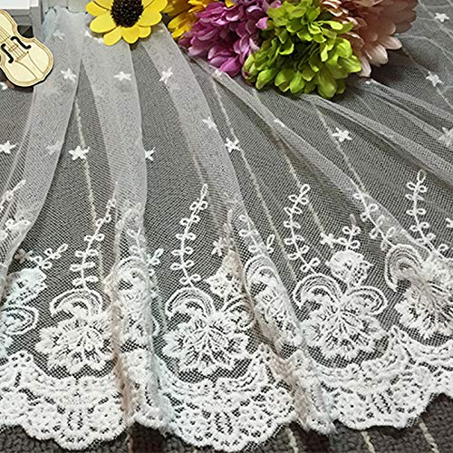 Mesh Top White - 45cm X 90cm Diy White Lace Embroidered Flower Cloth Fabric Shirt Doll Wedding Dress Decor - Women Pearl Embroidered Skirt Window Sheer Curtains Tank Jeans Necklace Dining Duster
