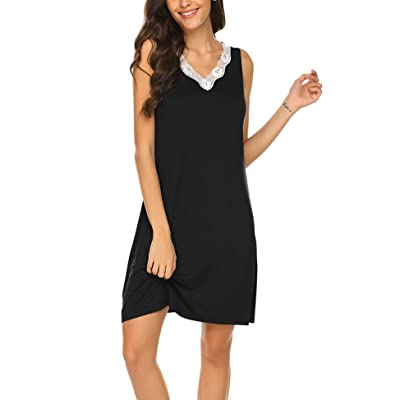 Hotouch Sleepwear Women Nightgown Cotton Nightshirt Lace Trim V Neck Tank Sleeveless Sleep Dress S-XXL at Women's Clothing store