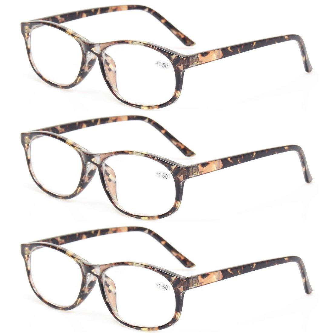 Kerecsen 3 Pack Fashion Men and Women Reading Glasses Stylish Designed Readers 0)