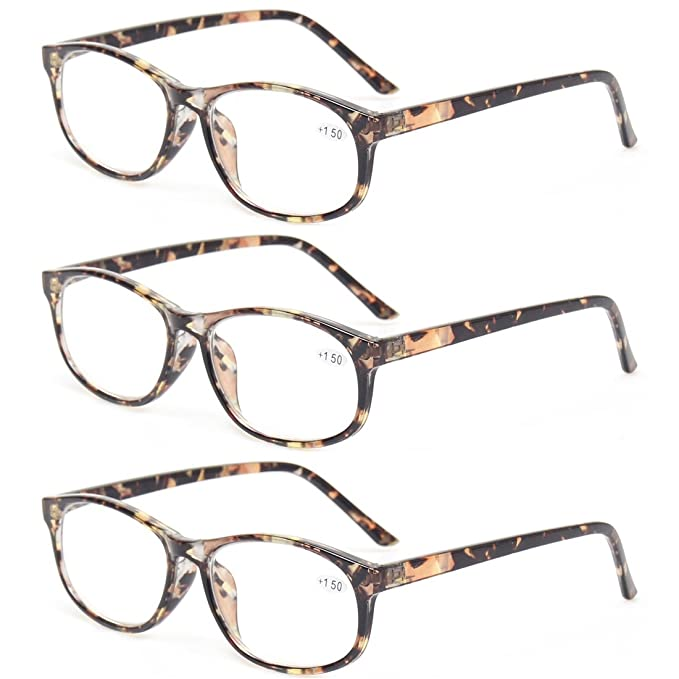50ab06697a Kerecsen 3 Pack Fashion Men and Women Reading Glasses Stylish Designed  Readers (3 Pack Brown