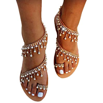 0aecfe458 Shoe N Tale Women Bling Rhinestone Pearl Flat Gladiator Sandals Clip Toe  Dress Shoes (
