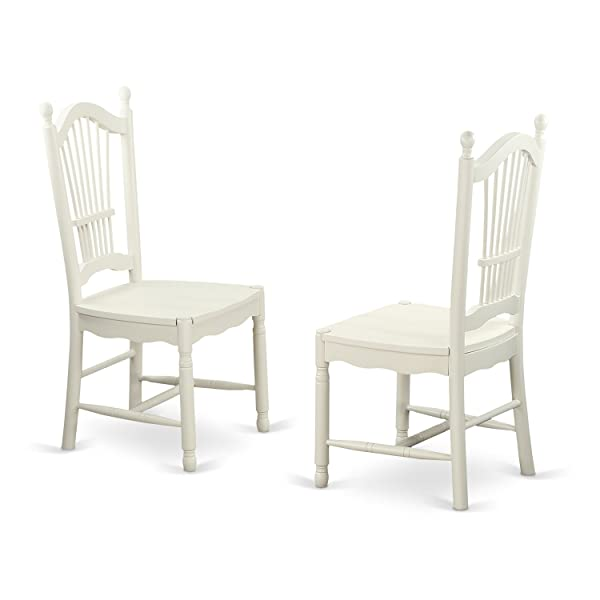 DOC-LWH-W Dover Dining Room Chairs With Wood Seat in Linen White-Set of 2