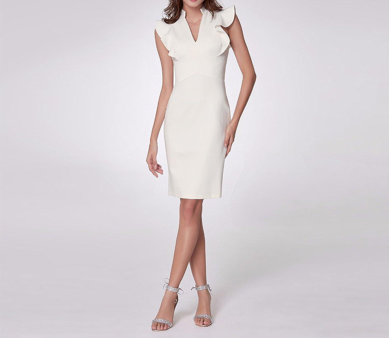 Elegant Cocktail Dresses A Line Ruffles V-Neck Sleeveless White Party Club Cocktail Dress EP05967WH