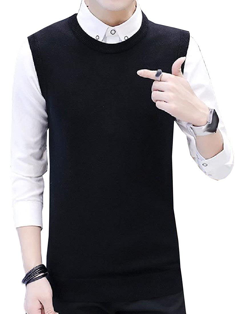 Coolred Mens Knitted Pullover Solid Sleeveless Crew Neck Sweater Vest