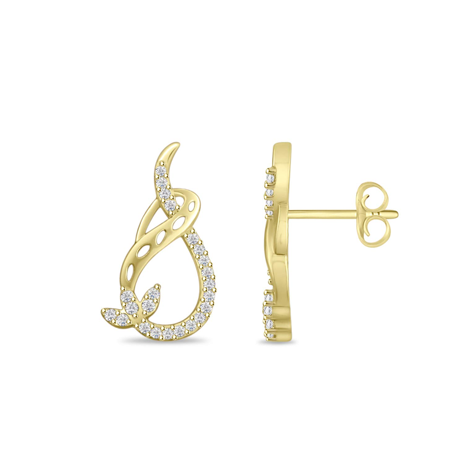 Round Cubic Zirconia Half Infinity Pear Shape Stud Earrings in 14k Gold Finish