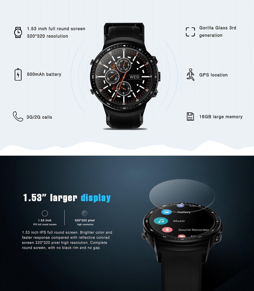 Festnight Thor Pro 3G WCDMA GPS Smart Watch Phone1.53inch IPS Display 1GB + 16GB Android 5.1 WiFi BT Podómetro SmartWatch Nano SIM