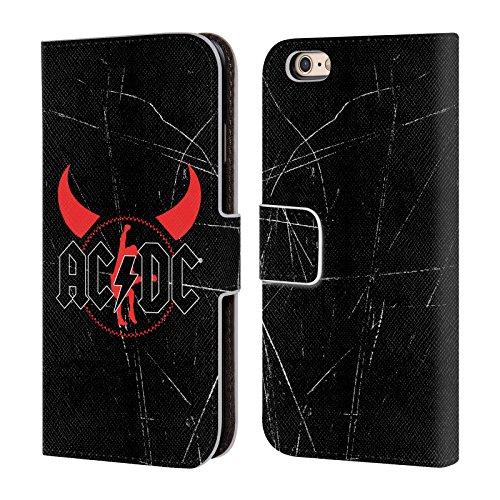 Officiel AC/DC ACDC Klaxons De Diable Iconique Étui Coque De Livre En Cuir Pour Apple iPhone 6 / 6s