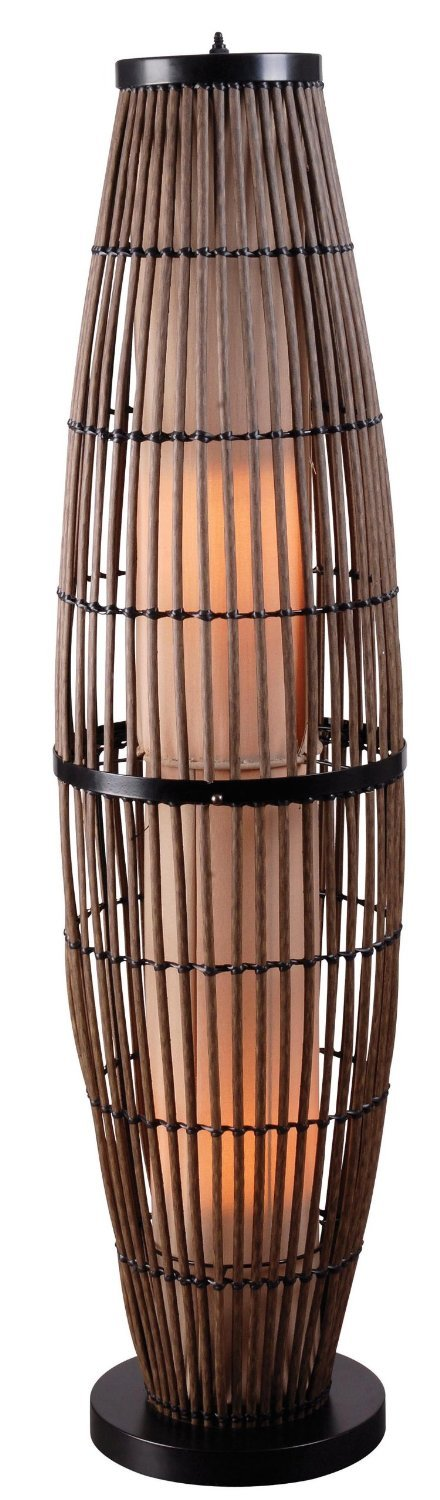 Generic Biscayne Outdoor Floor Lamp, Rattan Finish with Bronze Accents