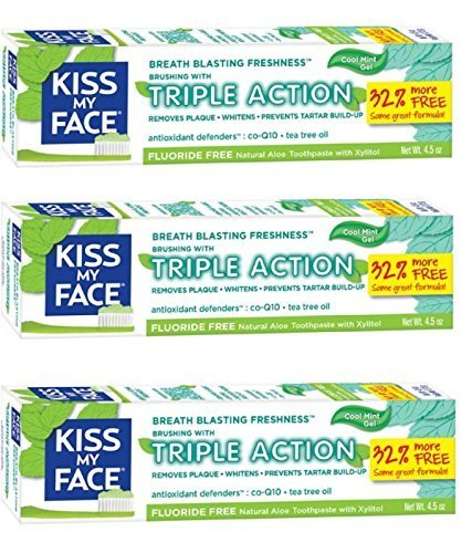 Face Toothpaste (Kiss My Face Gel Triple Action Toothpaste Fluoride Free, SLS Free 4.5 Oz (Pack of 3))