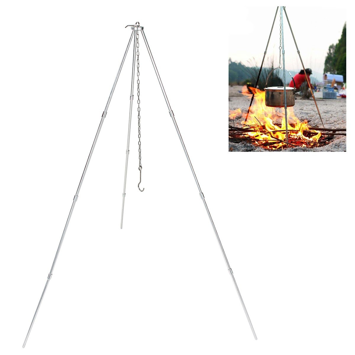 Donnagelia 106cm Height Camping Tripod with Adjustable Chain Portable Foldable for Outdoor BBQ Barbecue Campfire Cooking Hanging Pot