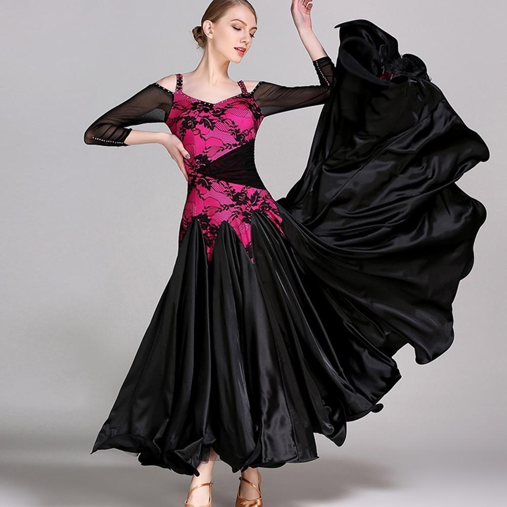 Rose rouge XXL Robes de Danse Moderne sans Bretelles en Maille Manches pour Les Femmes Robes de Compétition de Valse de Costume de Représentation Grande Balançoire