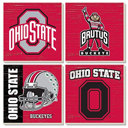 Square Collegiate Coasters (Set of 4) (Ohio State)
