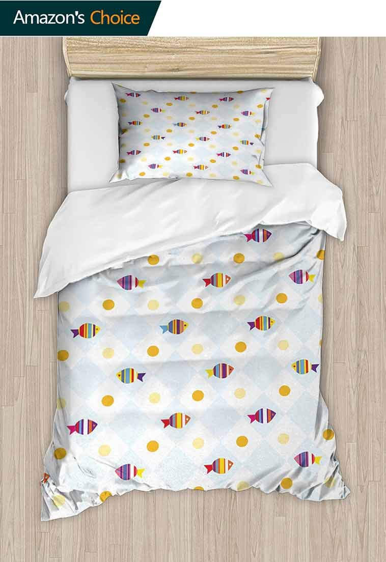 Cartoon DIY Quilt Cover and Pillowcase Set, Aquarium Themed Fish Cartoons with Spots and Lines, Bedding Set with Zipper Ties 1 Duvet Cover 1 Pillow Sham Ultra Soft Luxurious Breathable Multicolor