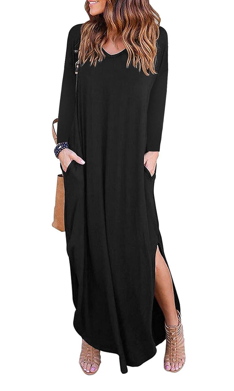 Black Women's V Neck Casual Side Pocket Long Sleeves Split Beach Loose Maxi Dress