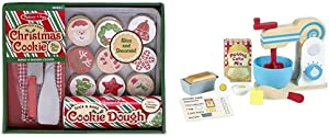 Melissa & Doug Slice and Bake Wooden Christmas Cookie Play Food Set Bundle Make-A-Cake Mixer Set