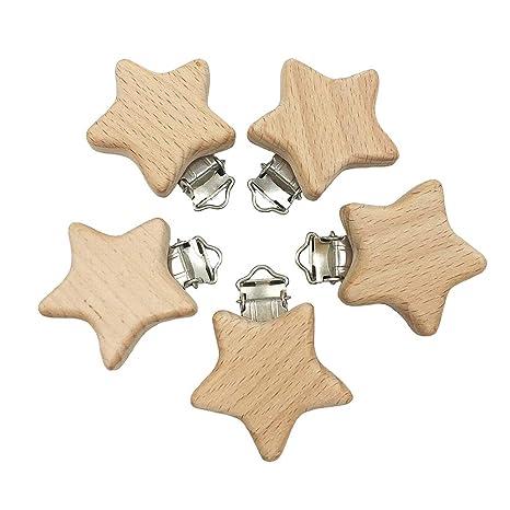 Toyvian Clip de chupete infantil de madera de cinco puntas ...