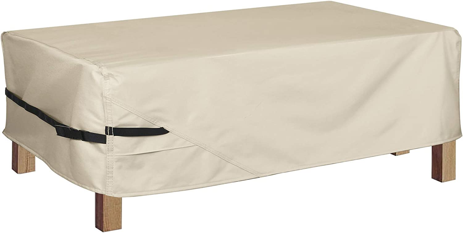 Porch Shield Patio Coffee Table Cover - Waterproof Outdoor Furniture Rectangular Small Table Covers 40 x 22 inch, Beige