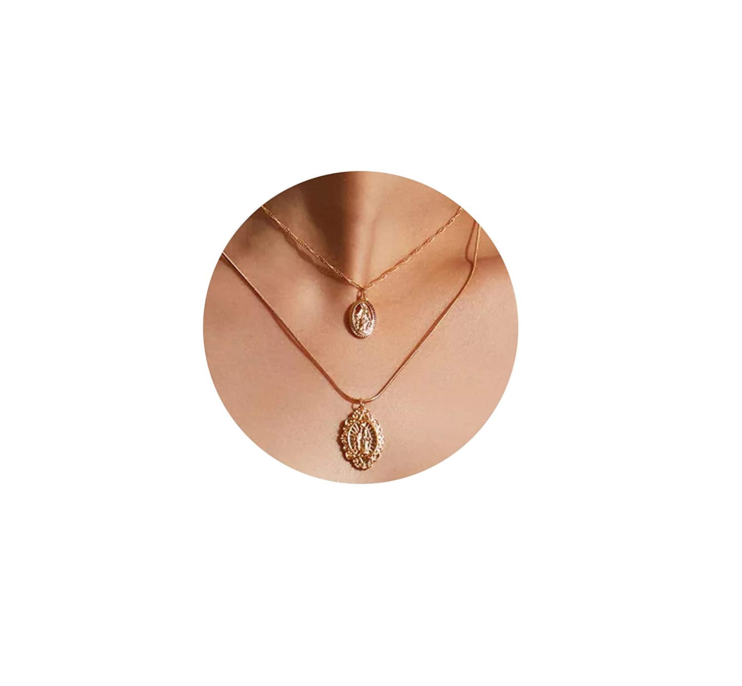 Epinki Gold Plated Double Layers Necklace Gold Sequin Chain Necklace for Women and Girls