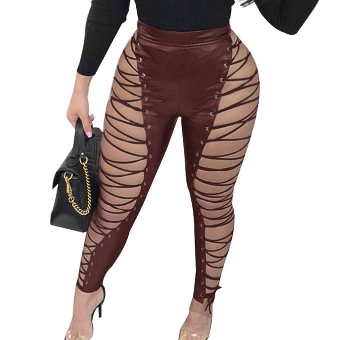 50702bebbd26 Duanmei Mujeres Pantalones punk de cintura alta de cuero sintético ...