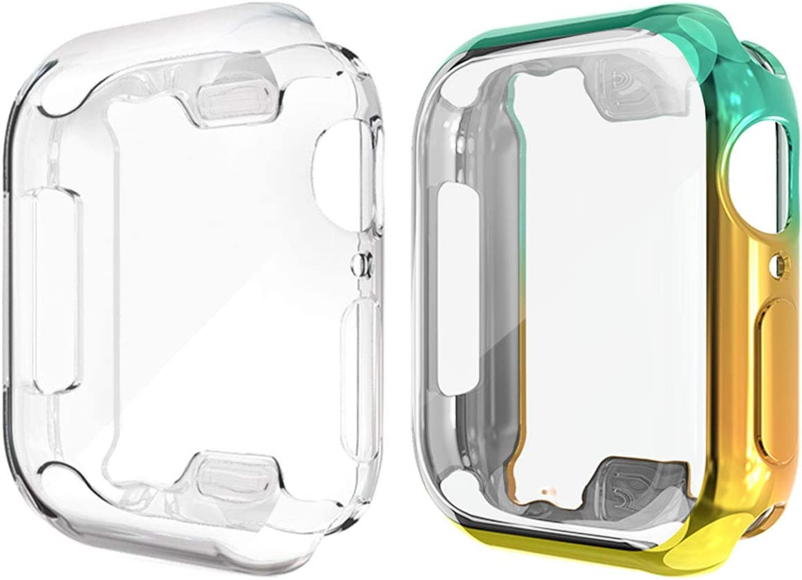 Compatible with Apple Watch Series 6 SE 44mm Case with Built in TPU Screen Protector, 2 Pack All Around Protective Iwatch Cover Bumper for Iwatch Series 5/4 Accessories (Yellow/Green, 44mm)