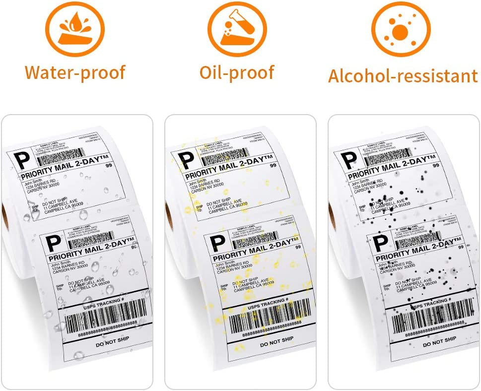 Phomemo 4x6 Thermal Shipping Labels Work for Print Mailing Labels Barcode Label for Other Purpose Thermal Direct Label Paper Commercial Grade Roll Black On White 4 in X 6 in 500 Labels