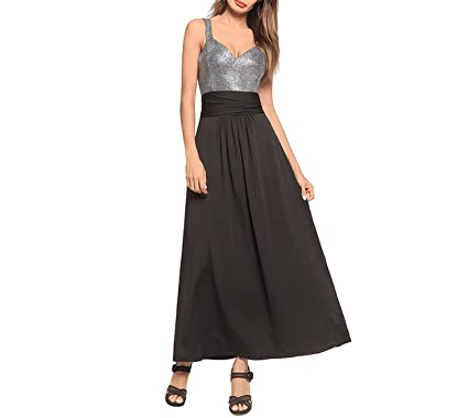 Fairy-Margot Women Sexy Deep V Patchwork Dress Backless Casual Party Dresses Long Strapless Contrast