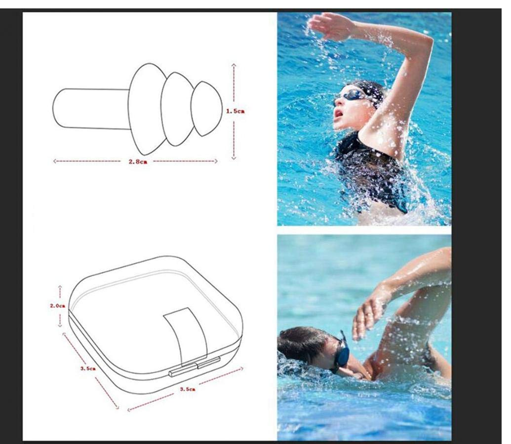 Soft and Flexible Ear Plugs for Swimming or Sleeping with Earplug Case AMOYER Silicone Earplugs Swimmers 10PCS 5 PAIRS