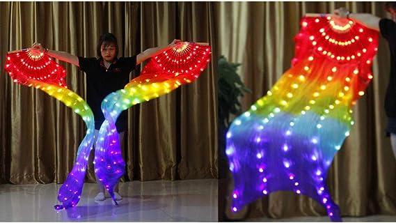 AoTin Voile de Ventilateur de Danse du Ventre LED 1.8 m Voile de Fans de Bambou Eventail en Soie Fabriqu/é /à la Main pour Plein Air//Sc/ène Accessoires de Performance de Danse Professionnelle