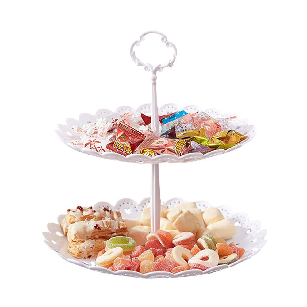 2-Tier Cake Stand Fruit Plate Cupcake Plastic Stand White for Cakes Desserts Fruits Candy Buffet Stand for Wedding Home Decor Birthday Party