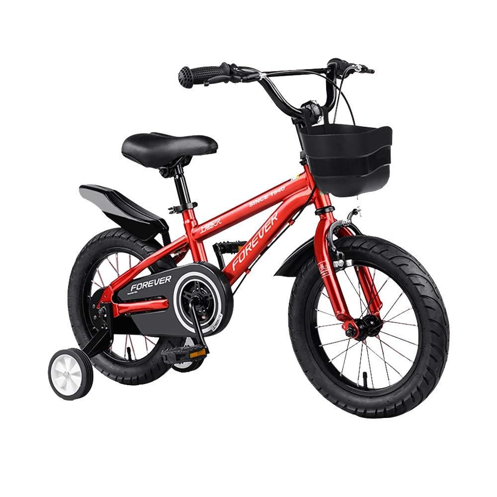rot 14in Axdwfd Kinderfahrräder Jungenfahrrad mit Stützrädern, mit intelligentem Startrahmen für die Proportionen Ihres Kindes, Sattelgriff, 12 14 16 18-Zoll-Radgröße, Rot, Gelb