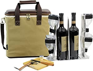 3 Bottle Heavy Duty Wine Cooler Bag, Insulated Wine Carrier for Travel, EVA Molded Champagne Carrying Tote, Wine & Cheese Set with 4 Glasses, Wine Opener & Stopper, Bamboo Cheese Board and Knife