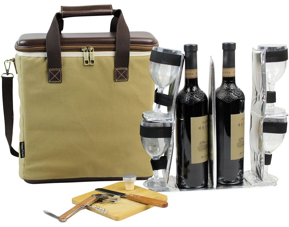 3 Bottle Heavy Duty Wine Cooler Bag/Insulated Wine Carrier for Travel/EVA Molded Champagne Carrying Tote/Wine & Cheese Set with 4 Glasses, Wine Opener & Stopper, Bamboo Cheese Board and Knife by HappyPicnic (Image #1)