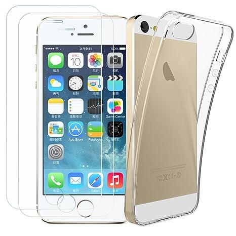 Kany iPhone 5S/SE [ 2X Schutzfolie und 1 Hülle Case 0.25 mm 9H Hartglas Schutzfolie Displayschutzglas und Transparente Flexib