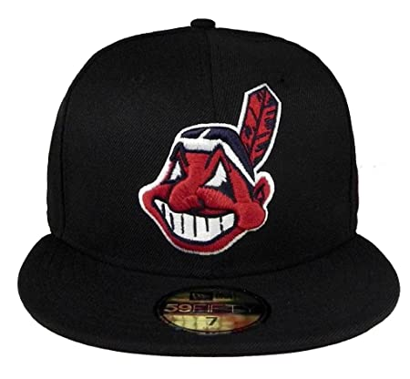 new arrivals 6d212 07463 Amazon.com   New Era Cleveland Indians Men s Custom Fitted Hat Cap 59fifty  Black red MLB Baseball   Clothing