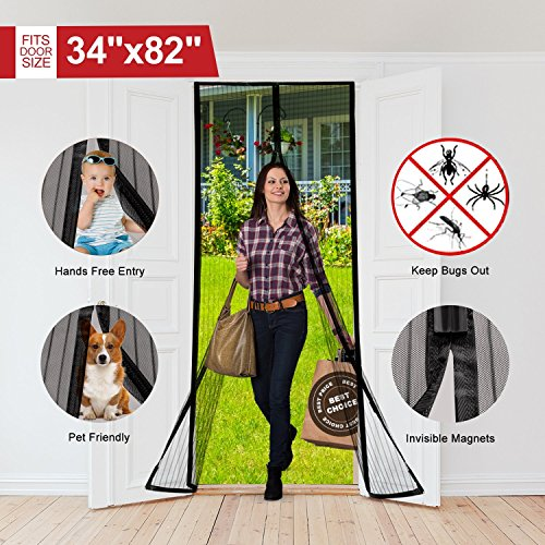 Magnetic Screen Door Full Frame Velcro Mesh Door Curtain Polyester Soft Yarn Mesh Magnet Keep Bugs Mosquitoes Out Fits Doors Up to 34