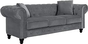 Casa Andrea Milano llc Classic Velvet Scroll Arm Tufted Button Chesterfield Sofa (Grey), Large