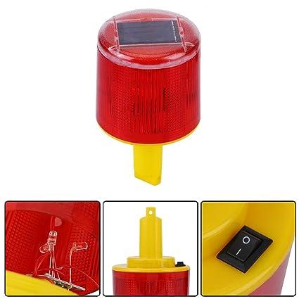 Jacksking Luz de Advertencia, LED Solar Lámpara de Alarma de ...