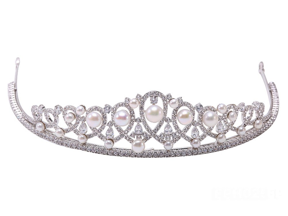 Natural White Flatly Round Freshwater Pearl Crown Tiara Bridal Hair Tiara Birthday Party Crown