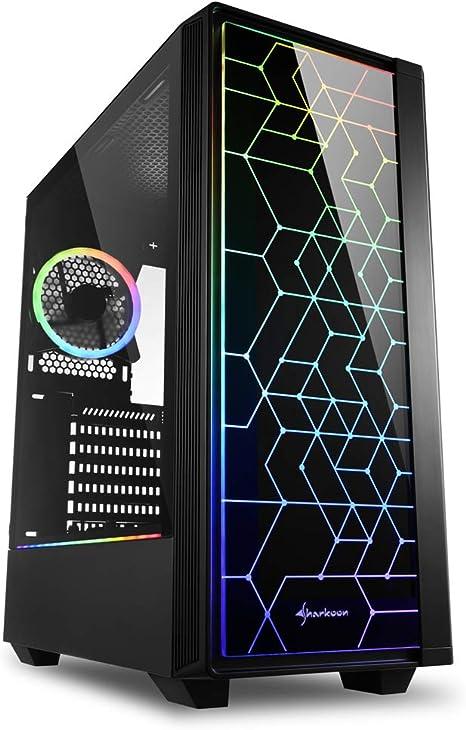 Sharkoon RGB LIT 100 - Caja de Ordenador, PC Gaming, Semitorre ATX, Negro: Amazon.es: Informática