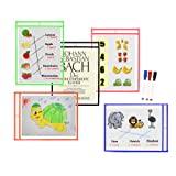 Godery Reusable Dry Erase Pockets, 5 Pockets per