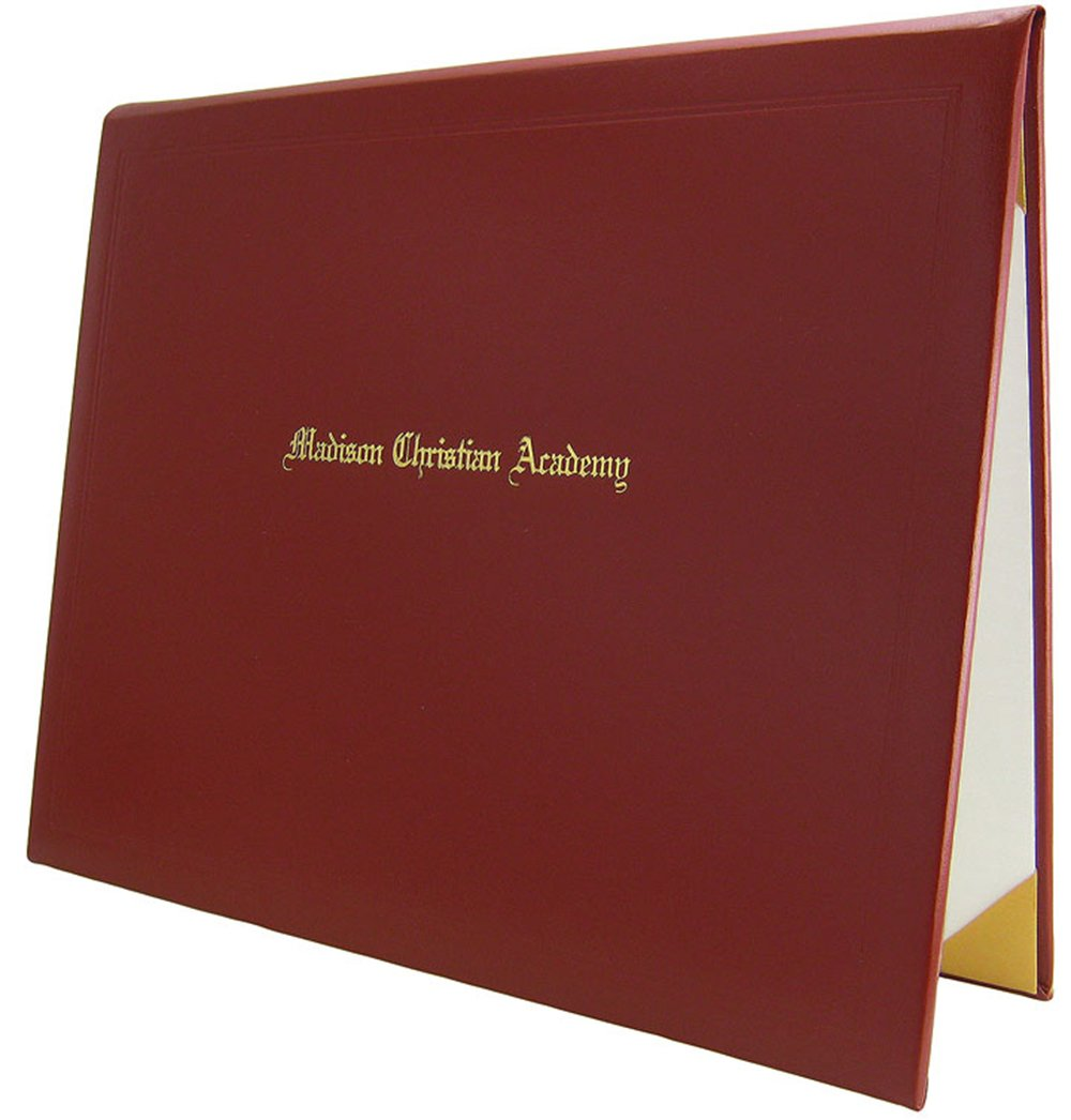 8.5 x 11 Padded Diploma Cover with 1 Line of Custom Text (Red)