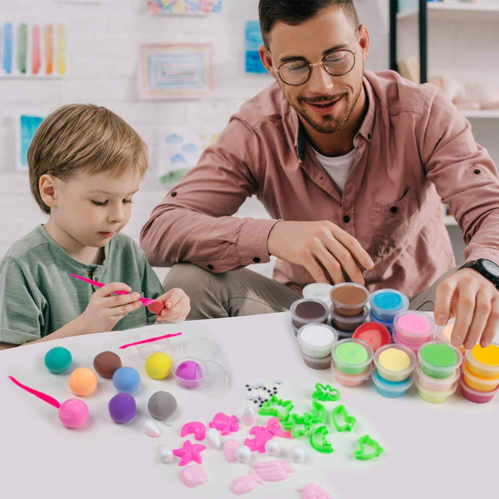 36 Colors Modeling Magic Clay Ultra-Light Safety Plasticine DIY Air Dry Clay Set with Tools for Kids Present(0.65oz-0.7oz Per Color)