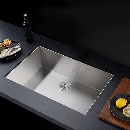 KES 32 Inch Kitchen Sink Stainless Steel Single Bowl Undermount Deep 16  Gauge Zero Radius