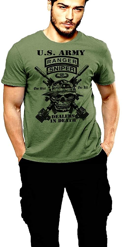 Army Ranger T-Shirt Ranger Sniper 2 SIDED PRINT Green Tee