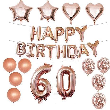 60 Decoraciones de cumpleaños Kit Foil Globo 60 Decoraciones de cumpleaños Oro rosa para niñas Suministros para la fiesta de cumpleaños Feliz ...