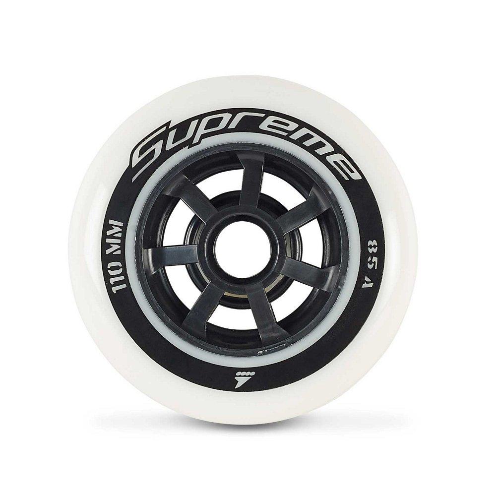 Rollerblade Supreme 110mm 85A Wheels, 8 Pack, White, Ea