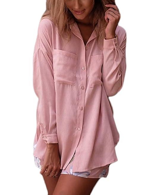 Mujer Camisas Manga Larga Elegantes Otoño Tops Camisetas Basicas Rosa De Solapa con Botones Bolsillo Ropa