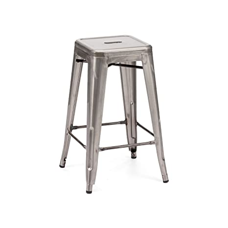 Superb Occ Set Of 1 Tolix Style Backless Metal Industrial Stack Counter Height Stool Stackable Metallica Cafe Counter Stools Gunmetal Andrewgaddart Wooden Chair Designs For Living Room Andrewgaddartcom